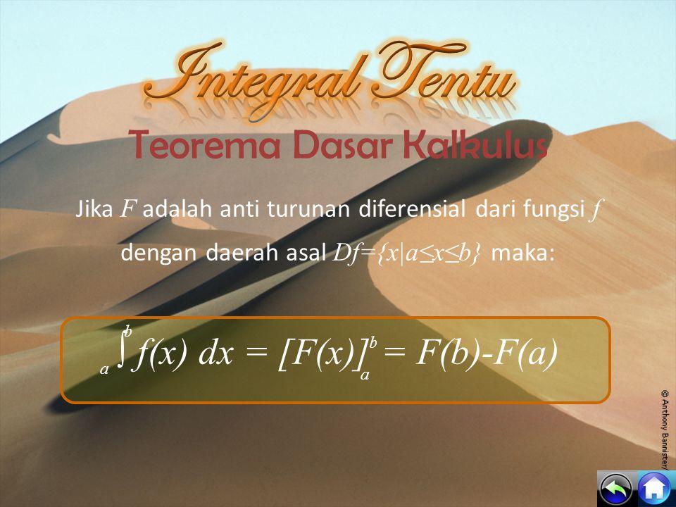 Integral Tentu Teorema Dasar Kalkulus ∫ f(x) dx = [F(x)] = F(b)-F(a)
